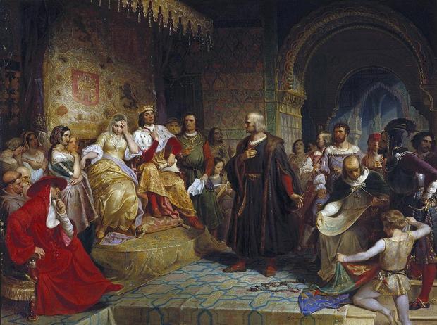 Krzysztof Kolumb przed Ferdynandem i Izabelą, obraz Emanuela Leutze