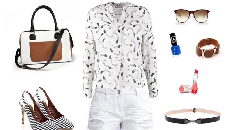 Pamiętajcie, że jeans to nie tylko klasyczne odcienie niebieskiego, ale też czerń czy biel, która właśnie latem sprawdzi się idealnie. Dla osób, które lubią eleganckie wydania proponujemy zestawienie szortów z koszulą w ciekawy print, szpilkami z odkrytą piętą lub sandałkami na obcasie i delikatnymi dodatkami. Białe szorty można zestawiać ze wszystkim i to właśnie w zależności od dodatków możesz stworzyć stylizację elegancką, sportową, casualową czy bardziej miejską. Wszystko zależy od Twojego stylu i okazji.