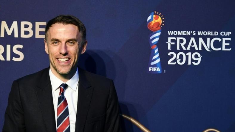 England head coach Phil Neville at Saturday's draw for the 2019 women's World Cup
