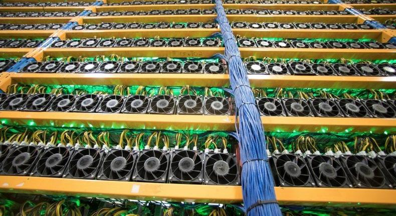 A wall of miners, seen at the cryptocurrency farming operation, Bitfarms, in Farnham, Quebec, Canada, February 2, 2018. REUTERS/Christinne Muschi