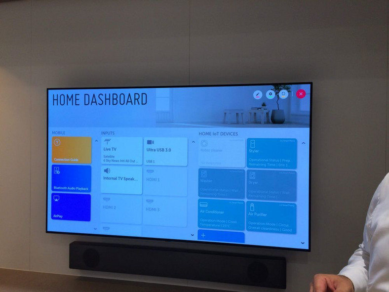 LG na IFA 2019 - panel Home Dashboard