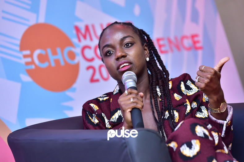 Temilade Adeniji of Warner Music speaking at the event. (Pulse Nigeria)