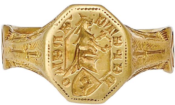 Prsten Kraj XIV - početak XV veka, zlato, Muzej primenjene umetnosti