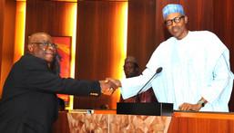 President Buhari swears in Onnoghen as acting CJN on November 10, 2016 (Presidency)