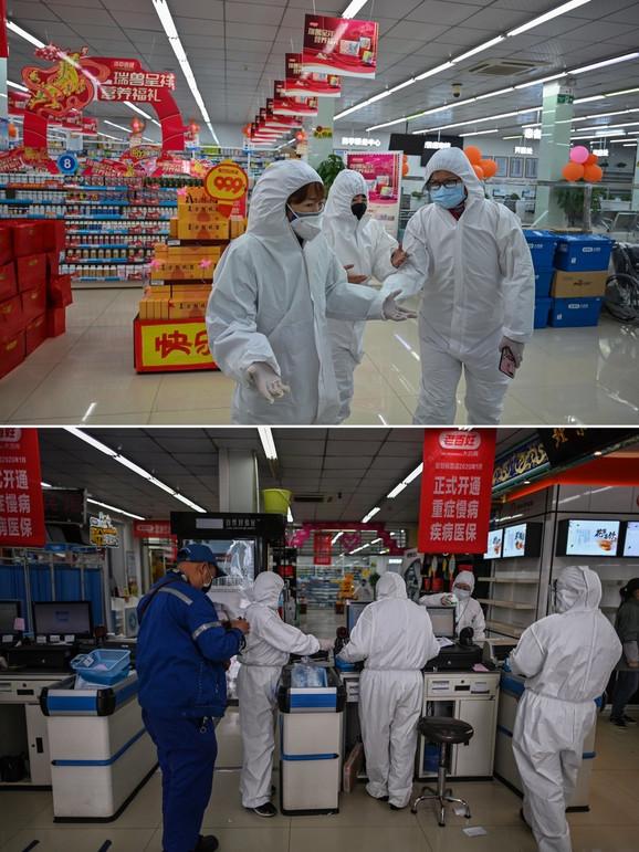 Vuhan nekad i sad (gore: 25. januar, dole: 30. mart) - apoteka