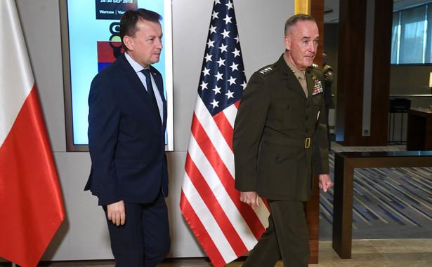 Spotkanie szefa MON Mariusza Błaszczaka i przewodniczącego kolegium szefów sztabów sił zbrojnych USA gen. Josepha Dunforda.
