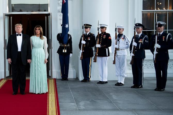 Melanija i Donald Tramp na svelanoj večeri 2018. u Beloj kući