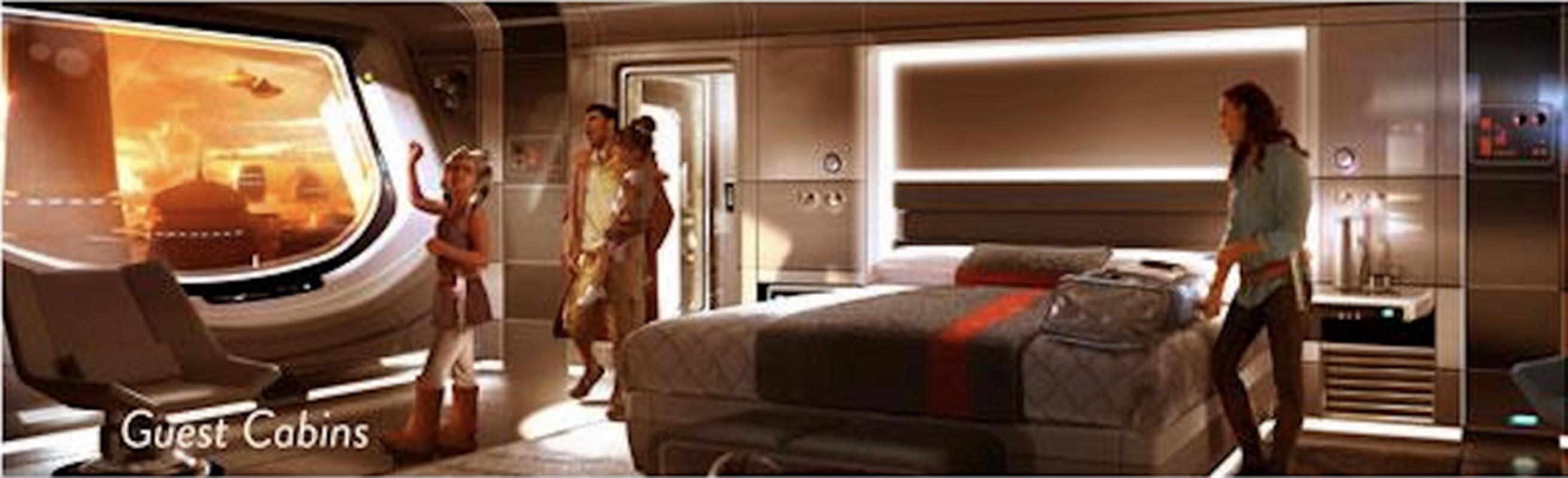 Wizualizacja pokoju gościnnego w hotelu na terenie Star Wars Land