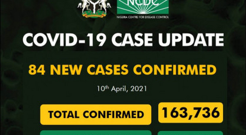 Coronavirus - Nigeria: COVID-19 update (10 April 2021)