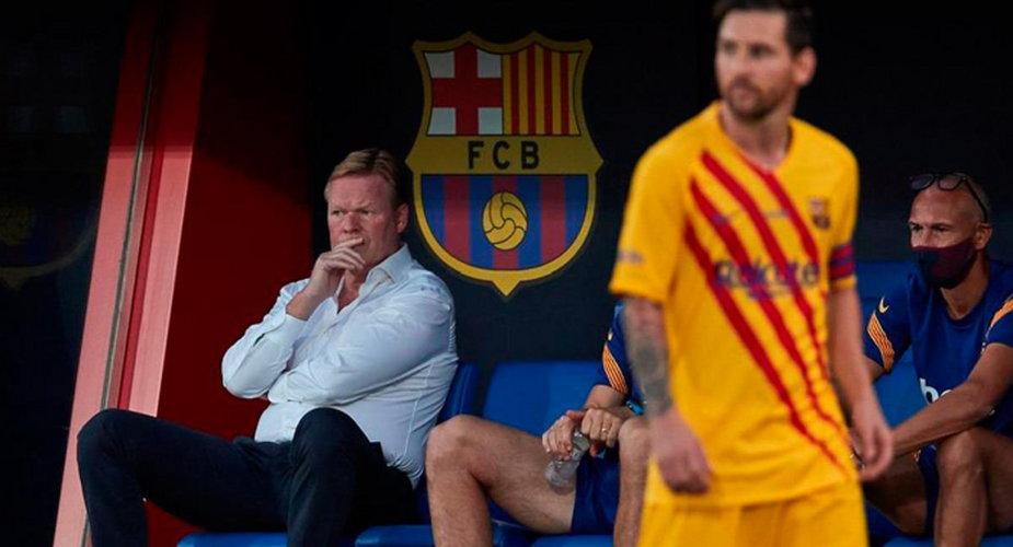 Koeman, Messi i Larsson podczas meczu z Tarragoną [zdj. Getty Images]