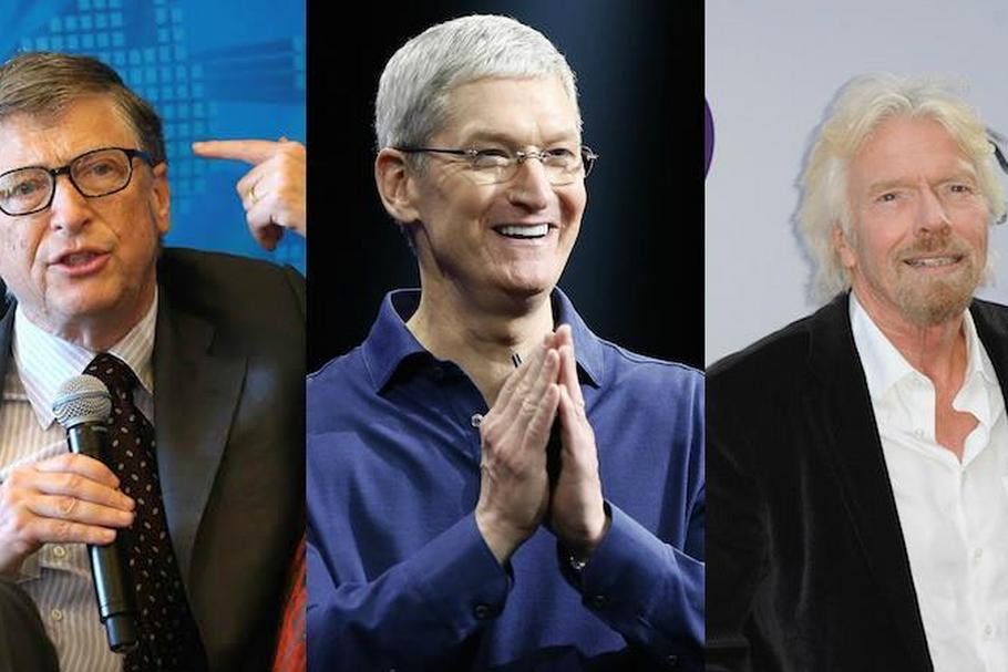 Bill Gates, Tim Cook, Richard Branson
