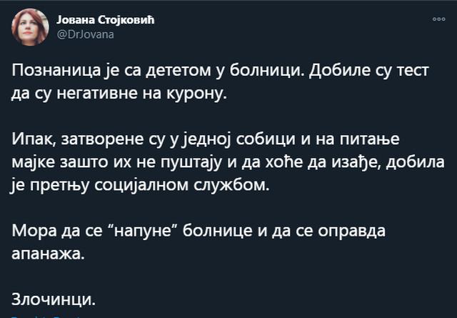 Dr Stojković svojevremeno je jezivo optuživala kovid bolnice