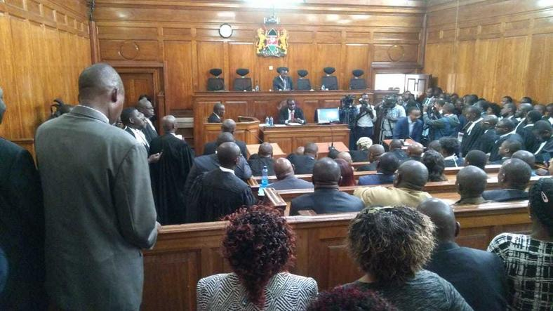 Court in session during ruling of Governor Alfred Mutua's election case