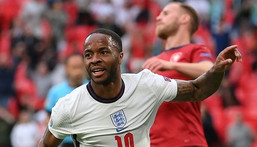 England forward Raheem Sterling celebrates scoring against the Czech Republic Creator: Laurence Griffiths