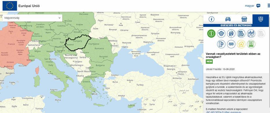 Az Európai Bizottság által készíttetett interaktív, európai turistatérkép Magyarországról / Forrás: reopen.europa.eu