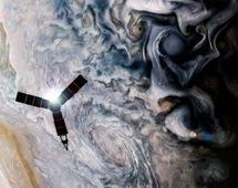 Ilustracja pokazująca sondę Juno przelatującą nad chmurami Jowisza