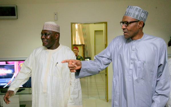 Former Vice President, Atiku Abubakar visits President Muhammadu Buhari in Abuja on June 16, 2015. (Presidency)