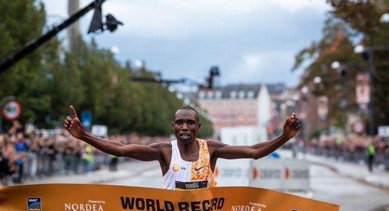 Kenya's elite athlete Geoffrey Kamworor breaks world record