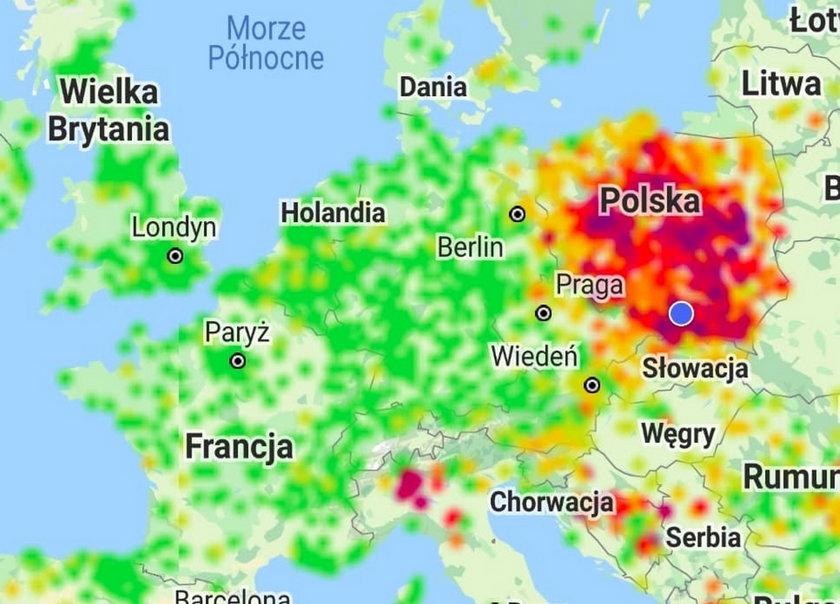 Cała Europa na zielono i tylko Polska na czerwono na mapie zanieczyszczeń powietrza - to zimą popularny obrazek..