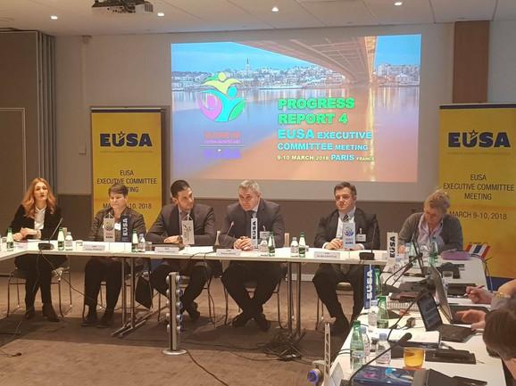 Naša delegacija, predvođena ministrom Vanjom Udovičićem i predsednikom Univerzitetskog sportskog saveza Srbije, Sinišom Jasnićem, na sastanku EUSA u Parizu