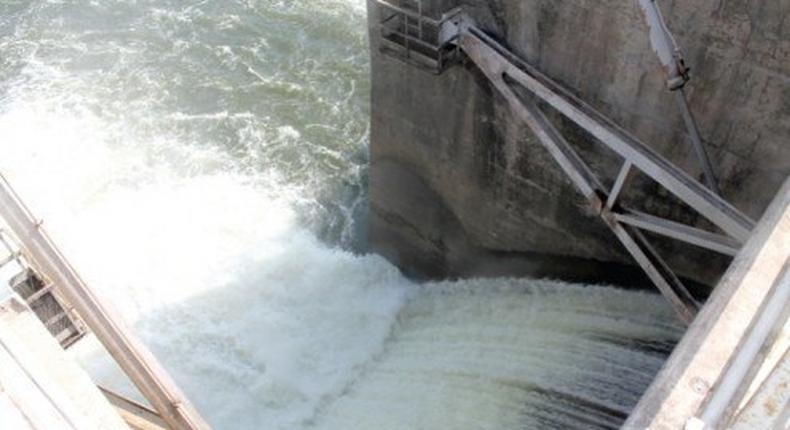 Water being spilled from the Weija Dam