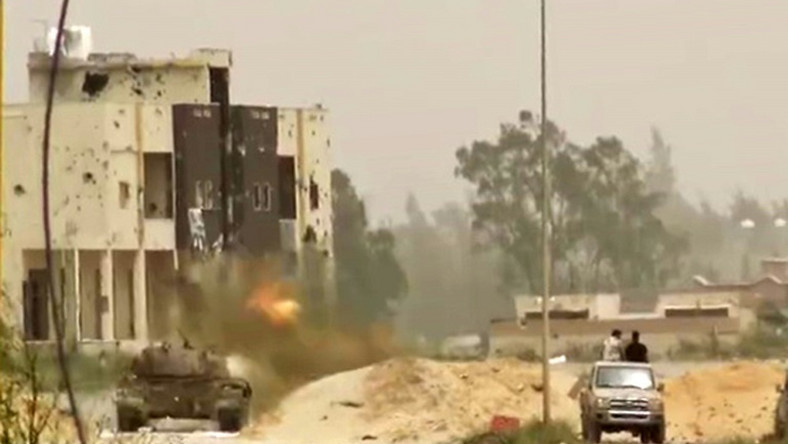 A tank in clashes on the outskirts of the Libyan capital Tripoli
