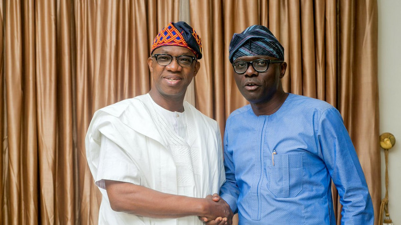 APC's Dapo Abiodun (left) is the Governor-elect in Ogun State while Babajide Sanwo-Olu (right), also an APC member, is the Governor-elect in Lagos State [Twitter/@dabiodunMFR]