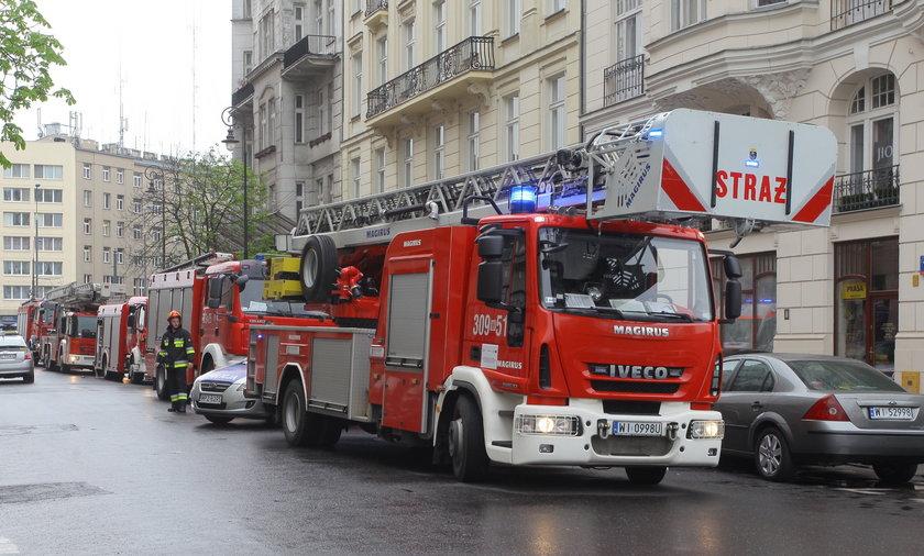 Pożar na ul.Bagatela w Warszawie