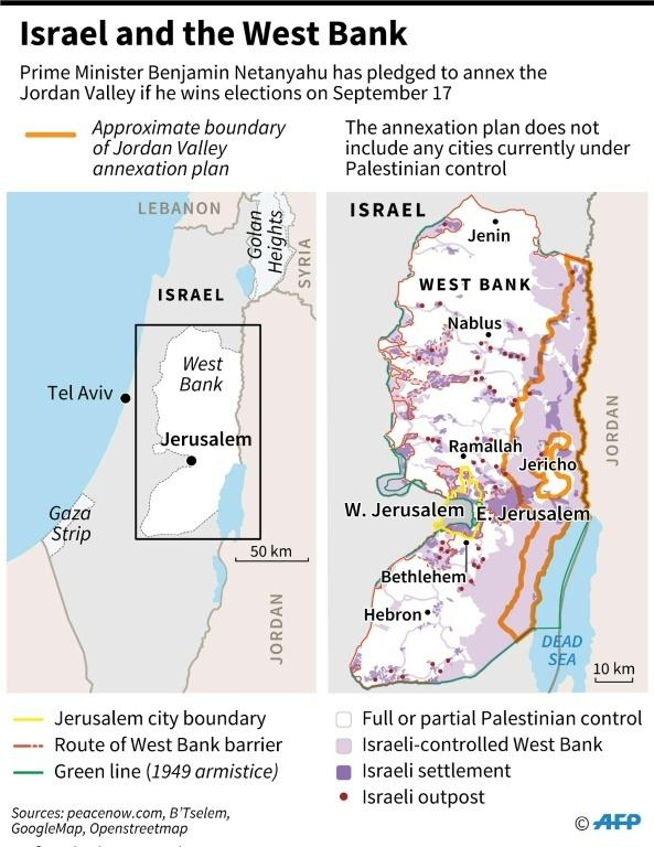 Map of Israel and the West Bank.