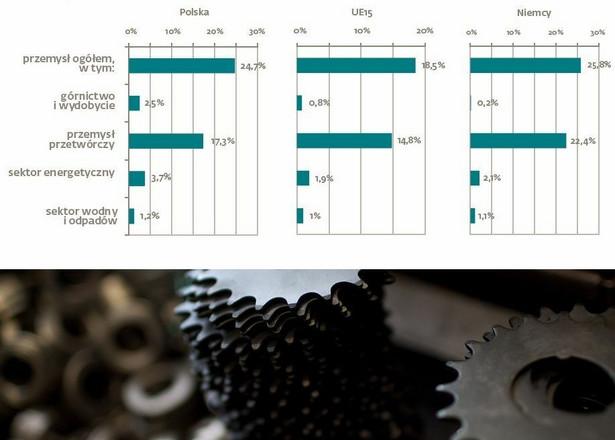 Sektor przemysłu w Polsce odpowiada aż za 25 proc. całej gospodarki. Tak wysoki wynik sytuuje Polskę w lidze Niemiec (gdzie udział przemysłu w gospodarce wynosi 25,8 proc.) oraz znacznie powyżej średniej UE (18,5 proc.). Na slajdzie: rola przemysłu w gospodarce w Polsce, Niemczech i 15 krajach UE. Źrodło: materiały prasowe DNB Bank Polska i Deloitte.