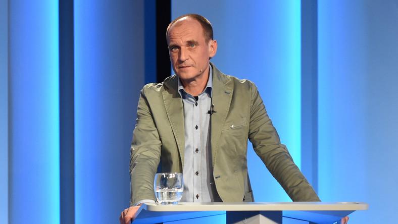 Paweł Kukiz w czasie debaty prezydenckiej w TVP