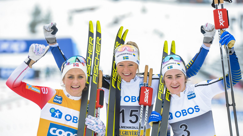 Therese Johaug from Norway, winner Frida Karlsson from Sweden and third placed Ebba Andersson