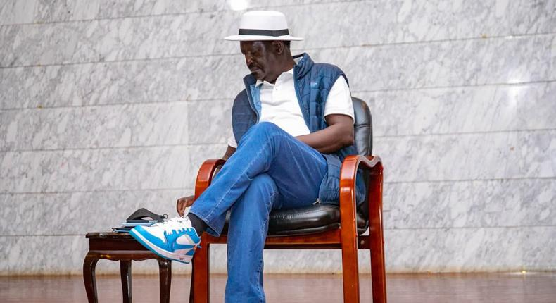 Raila spotted wearing stylish Off-White Nike Air Force 1 shoes.