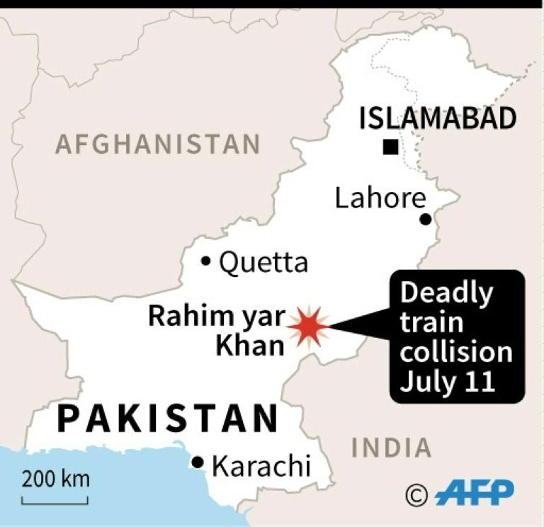 Map of Pakistan locating a train collision Thursday.