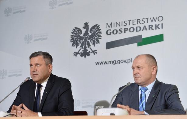 Janusz Piechociński i Marek Sawicki podczas konferencji prasowej. Fot. PAP/Marcin Obara