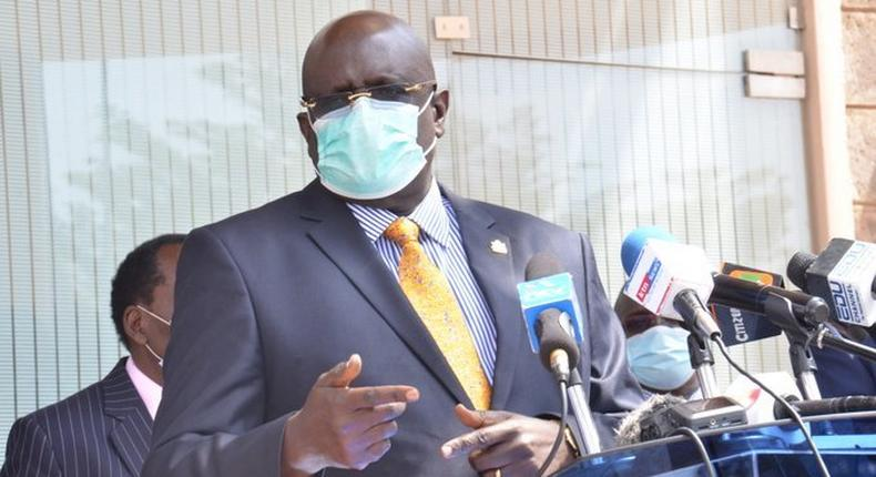Education CS George Magoha during a recent press briefing on the reopening of schools amid Coronavirus pandemic
