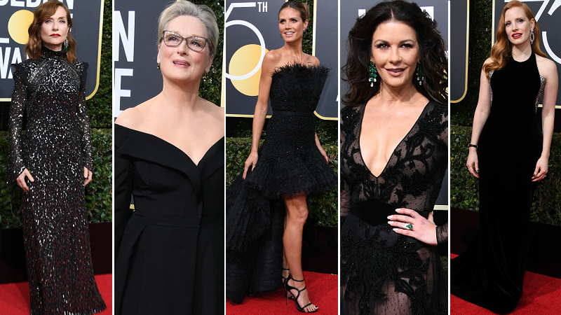 Gwiazdy na czerwonym dywanie podczas gali Złote Globy 2018: Isabelle Huppert, Meryl Streep, Heidi Klum, Catherine Zeta-Jones i Jessica Chastain