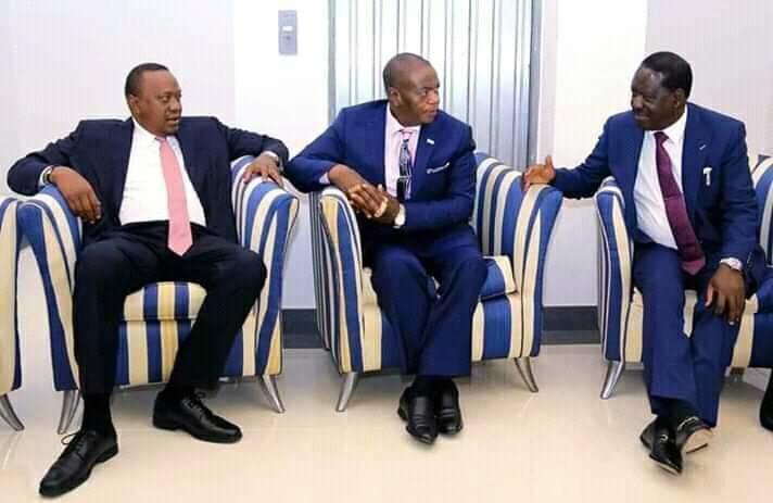 President Uhuru Kenyatta with Raila Odinga in DRC where the two leader had gone to attend the swearing in of President Felix Tshisekedi