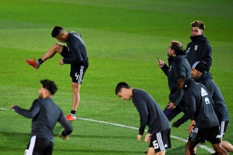 River Plate squad limbering up for Sunday's clash