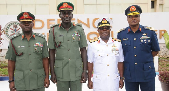 All four service chiefs are long overdue for retirement, but Buhari is unwilling to let them go for what many believe to be a lack of trust in the military structure. L-R: Chief of Defence Staff, General Abayomi Gabriel Olonisakin; Chief of Army Staff; Lieutenant General Tukur Buratai; Chief of Naval Staff, Admiral Ibik–Eke Ibns; and Chief of Air Staff, Air Marshal Sadique Abubakar [ICIR]