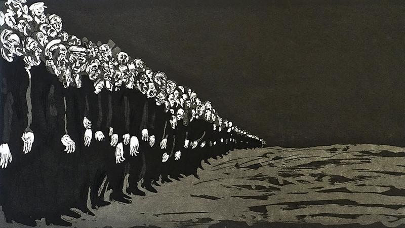 """""""Ludzie na placu"""", 1998, grafika"""