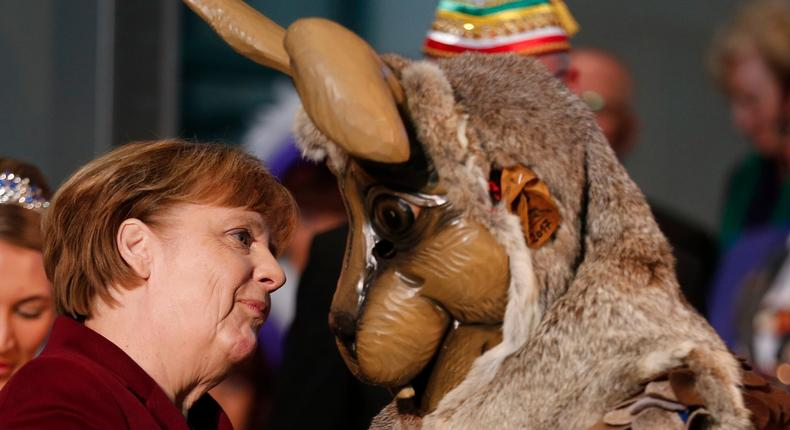 German Chancellor Angela Merkel at a reception of German carnival societies at the Chancellery in Berlin.
