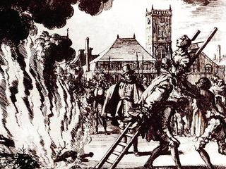The burning of a 16th century Dutch Anabaptist as a heretic or witch.