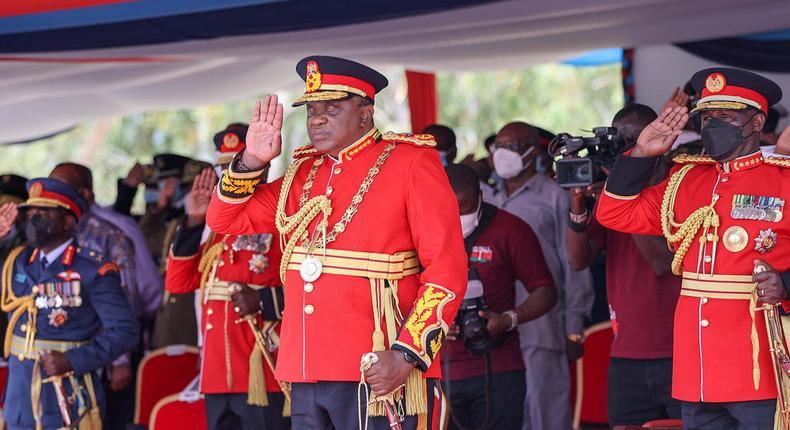 President Uhuru Kenyatta presides over Presentation of Presidential and Regimental Colour Ceremony at the Kenya Navy Base, Manda Bay in Lamu County.
