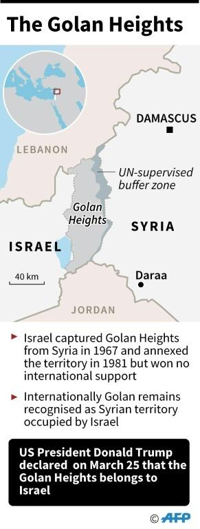Map locating the Golan Heights. US President Donald Trump declared on Monday that the territory belongs to Israel.