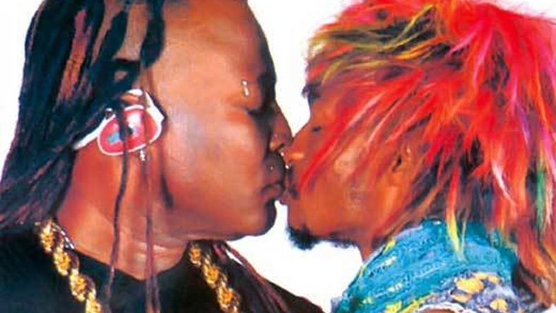 Charly Boy and Denrele kissing