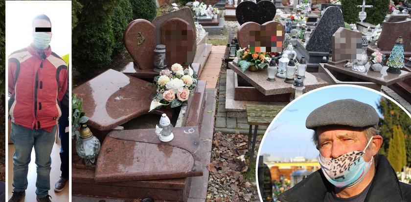 Barbarzyński czyn 34-latka na cmentarzu. Niszczył głównie nagrobki maleńkich dzieci