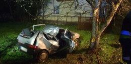 Fiat uderzył w drzewo, kierowca i pasażer walczą o życie