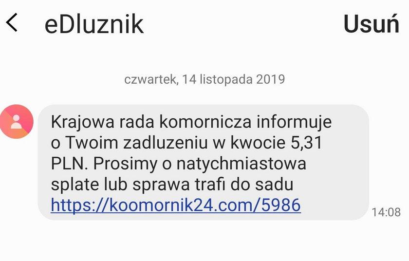 SMS wysyłany przez oszustów