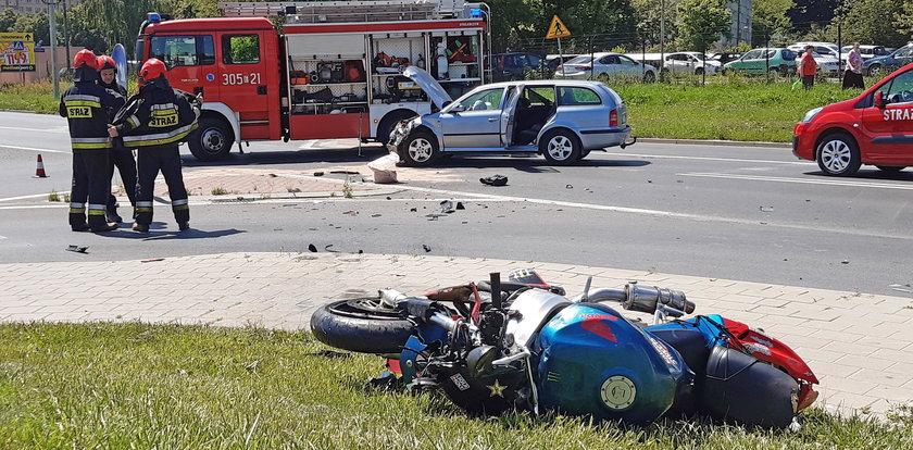 Wypadek motocyklisty na Kilińskiego w Łodzi